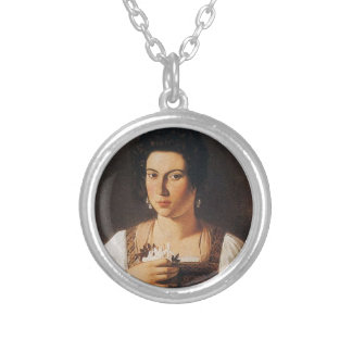 Caravaggio - Portrait of a Courtesan Painting Silver Plated Necklace
