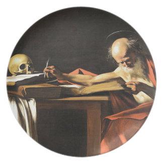 Caravaggio - San Gerolamo - Renaissance Painting Plate