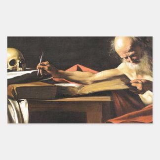Caravaggio - San Gerolamo - Renaissance Painting Rectangular Sticker