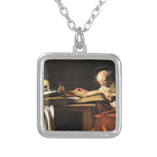 Caravaggio - San Gerolamo - Renaissance Painting Silver Plated Necklace