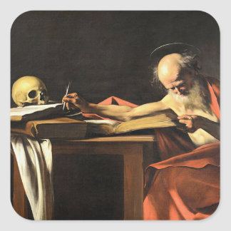 Caravaggio - San Gerolamo - Renaissance Painting Square Sticker