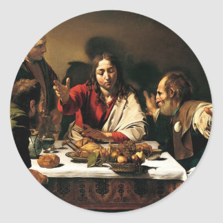 Caravaggio - Supper at Emmaus - Classic Painting Classic Round Sticker