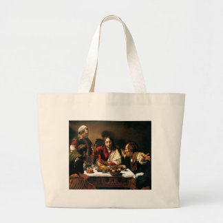 Caravaggio - Supper at Emmaus - Classic Painting Large Tote Bag