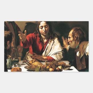 Caravaggio - Supper at Emmaus - Classic Painting Rectangular Sticker