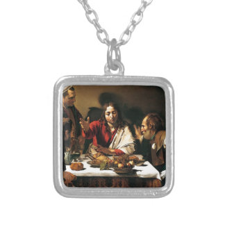 Caravaggio - Supper at Emmaus - Classic Painting Silver Plated Necklace