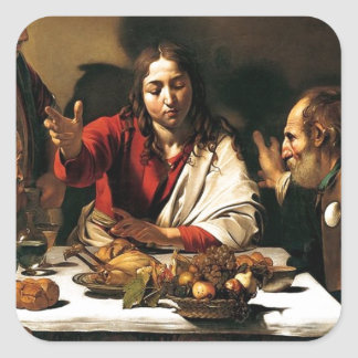 Caravaggio - Supper at Emmaus - Classic Painting Square Sticker