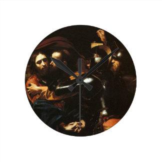 Caravaggio - Taking of Christ - Classic Artwork Round Clock