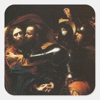 Caravaggio - Taking of Christ - Classic Artwork Square Sticker