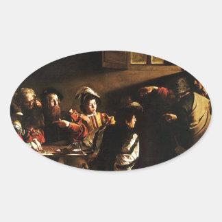 Caravaggio - The Calling of Saint Matthew Oval Sticker