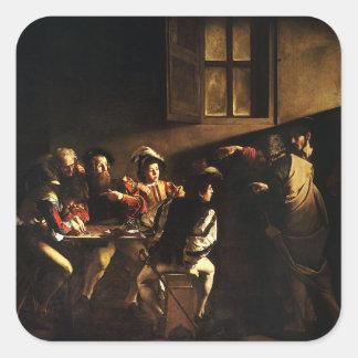 Caravaggio - The Calling of Saint Matthew Square Sticker