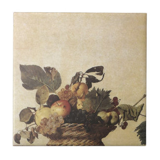 Caravaggio's Basket of Fruit Small Square Tile