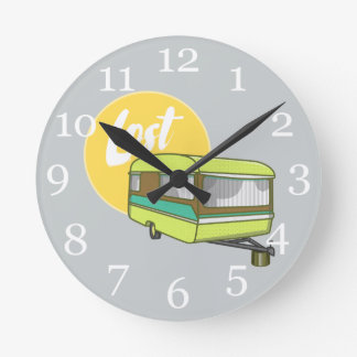 Caravan Lost Summer Holiday Clock