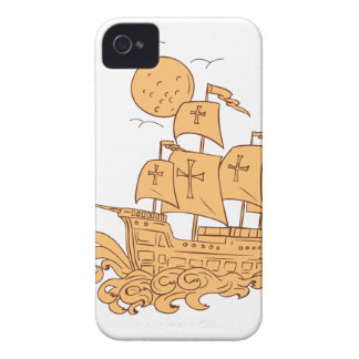 Caravel Sailing Ship Moon Drawing Case-Mate iPhone 4 Cases