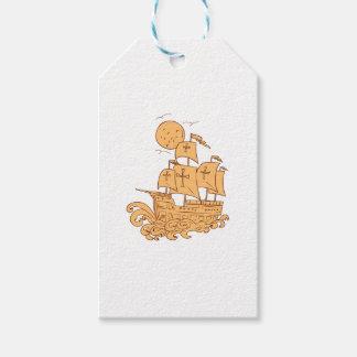 Caravel Sailing Ship Moon Drawing Gift Tags