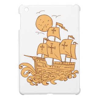 Caravel Sailing Ship Moon Drawing iPad Mini Case