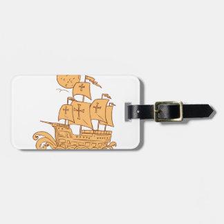 Caravel Sailing Ship Moon Drawing Luggage Tag