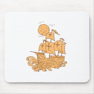 Caravel Sailing Ship Moon Drawing Mouse Pad