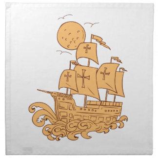Caravel Sailing Ship Moon Drawing Napkin
