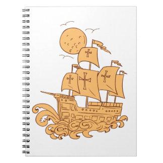 Caravel Sailing Ship Moon Drawing Notebook