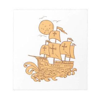Caravel Sailing Ship Moon Drawing Notepad