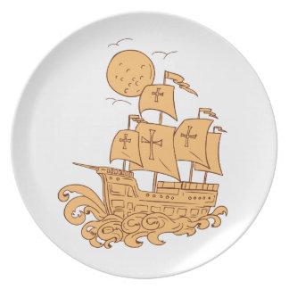 Caravel Sailing Ship Moon Drawing Plate