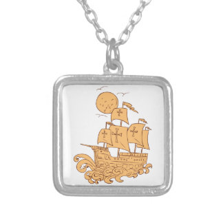 Caravel Sailing Ship Moon Drawing Silver Plated Necklace