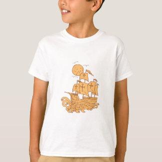 Caravel Sailing Ship Moon Drawing T-Shirt