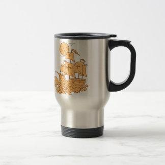 Caravel Sailing Ship Moon Drawing Travel Mug
