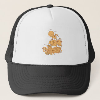 Caravel Sailing Ship Moon Drawing Trucker Hat