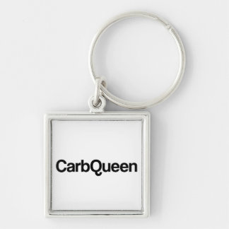 Carb Queen Funny Quote Silver-Colored Square Key Ring
