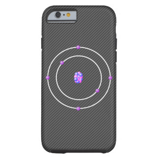 Carbon Atom with Carbon Fiber background Tough iPhone 6 Case