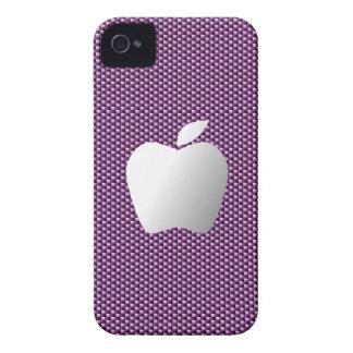Carbon Fiber iPhone 4/4S Case (Purple with Apple)