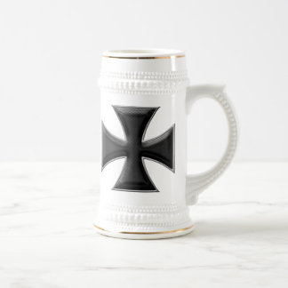 Carbon Fiber Iron Cross - Black Beer Stein