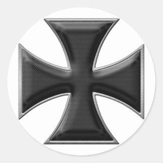 Carbon Fiber Iron Cross - Black Classic Round Sticker