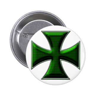 Carbon Fiber Iron Cross - Green 6 Cm Round Badge