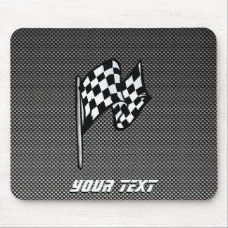 Carbon Fiber look Checkered Flag Mouse Pad