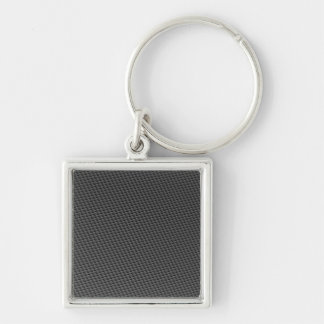 Carbon Fiber Material Silver-Colored Square Key Ring