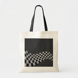 Carbon Fiber Style Racing Flag Checkers Wave Print
