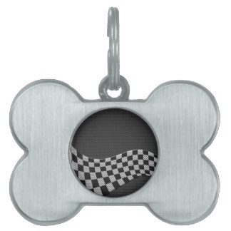 Carbon Fiber Style Racing Flag Checkers Wave Print Pet ID Tag