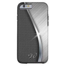 Carbon Fibre & Brushed Metal 4 Case Tough iPhone 6 Case