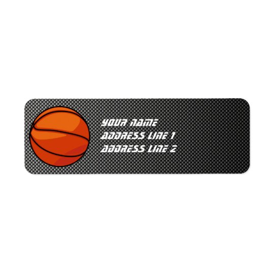 Carbon Fibre look Basketball Return Address Label