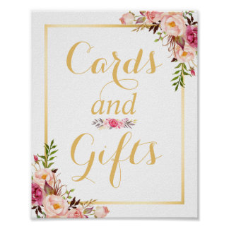 Card and Gifts | Floral Gold Frame Wedding Sign Poster