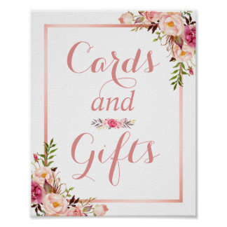 Card and Gifts   Floral Rose Gold Wedding Sign