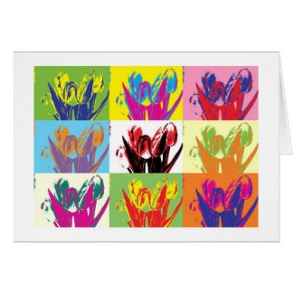 Card colorful tulips