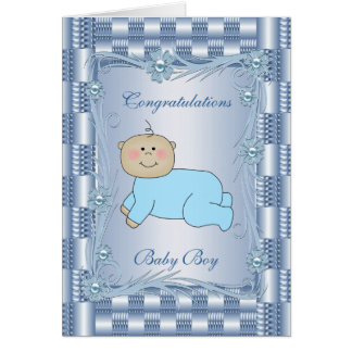 Card Congratulations Baby Boy Blue Floral Cards