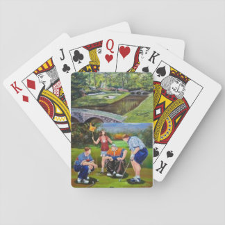 Card deck with hand painted golf scenes