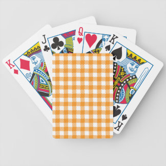 Card deck with orange checkered tablecloth pattern poker deck