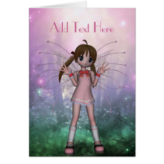 Card Fantasy Art Pink Fairy Girl