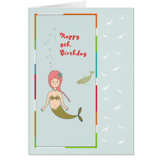 Card for a 9th Birthday with a Mermaid and Fish