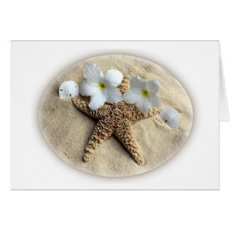 Card for any event - sand with beach objects